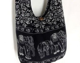 Women bag Handbags Cotton bag Elephant bag Hippie Hobo bag Boho bag Shoulder bag Sling bag Messenger bag Tote bag Crossbody Purse Black