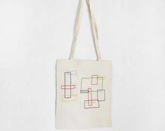 Geometric tote bag / calico bag  / fabric tote / cotton bag / large bag / shoulder bag / white cotton tote /shopping bag / multicolour