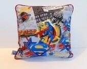 Superman Pillow, Super Hero Pillow , Boys Super Hero Decor , Playroom Pillow , Daily Planet Pillow