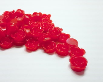 10PCS Red Resin Rose Flower Cabochons 17mm