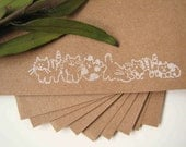kitties stationery set of 10, hand stamped stationery, recycled stationery, simple style, cat theme
