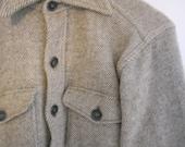 gray LL Bean wool lightweight button-down jacket