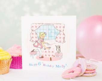 "Personalised Girls Birthday Card, Personalized Girls Birthday Card  ""Tea Party"""