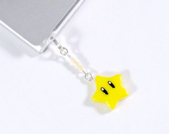 Super Mario Invincibility Star Dust Plug Phone Charm, For iPhone or iPod, Power Up, Cute, Kawaii :D