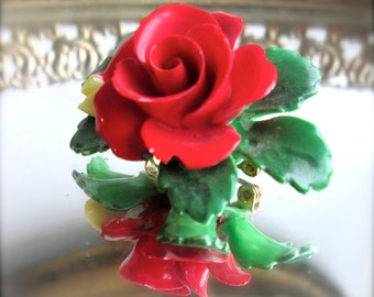 Gift For Mom Cara China Red Rose Brooch Vintage Brooch Vintage jewelry   Gardener gifts