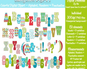 Digital Alphabet Clipart & Number Clipart - Instant Download, Red Blue Green, Printable Alphabet Clip Art, Chevron Flower Dot