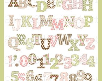 Digital Printable Alphabet Clipart & Number Clipart - Instant Download, Pink and Green Polka Dots Chevron Letters, Small CU