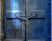 RUSTIC BLUE DOOR - Siena photo, Italy travel photo, wall print, Fine art print, Tuscany photography
