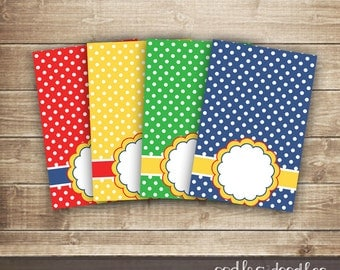 Primary Colors Tent Cards / Polka Dots Tent Cards / Place Cards or Food label Printable Tent Cards - INSTANT DOWNLOAD - Printable