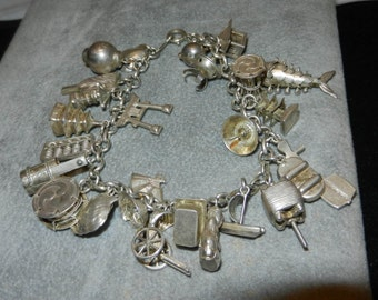 Silver Charm Bracelet with  Vintage Asian Charms