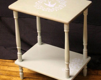 Spring Flowers Green Distressed Hand Painted Stenciled Bird Accent Side End  Table