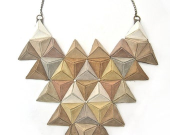 NATURAL ORDER unique statement 3D bib necklace in natural shades of suede