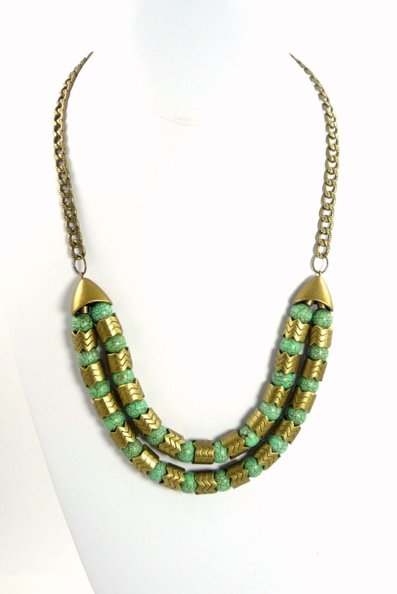 Handcrafted Brass Metal Snake Cut and Turquoise Beaded Statement Necklace