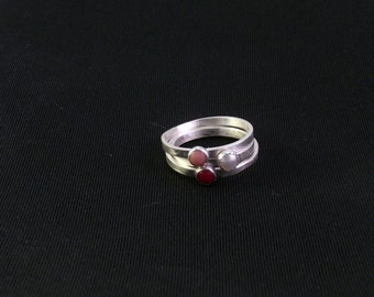 Red and Pink Coral and Pearl Stacking Ring Set