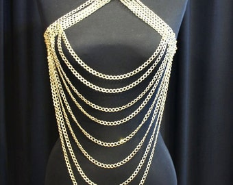 body chain necklace gold harness shoulder necklace body chain harness chain necklace