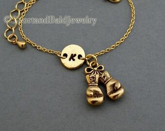 Boxing gloves charm bracelet, antique gold, initial bracelet, friendship, mothers, adjustable, monogram