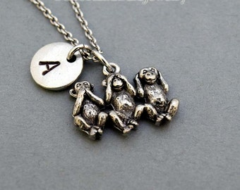 Three Monkeys Necklace, three wise monkeys, monkey, see no evil, hear no evil, speak no evil, initial, Personalized, monogram