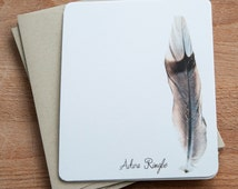 Personalized Note Cards - Feather Stationery - Classic Eco Friendly Stationary Gift Set