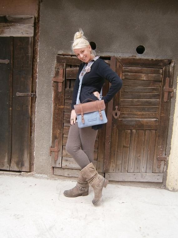 Blue IPad Briefcase, Clutch,  School Bag, Genuine Leather Briefcase, Handmade IPad Bag, IPad sleeve, IPad Tablet Bag,