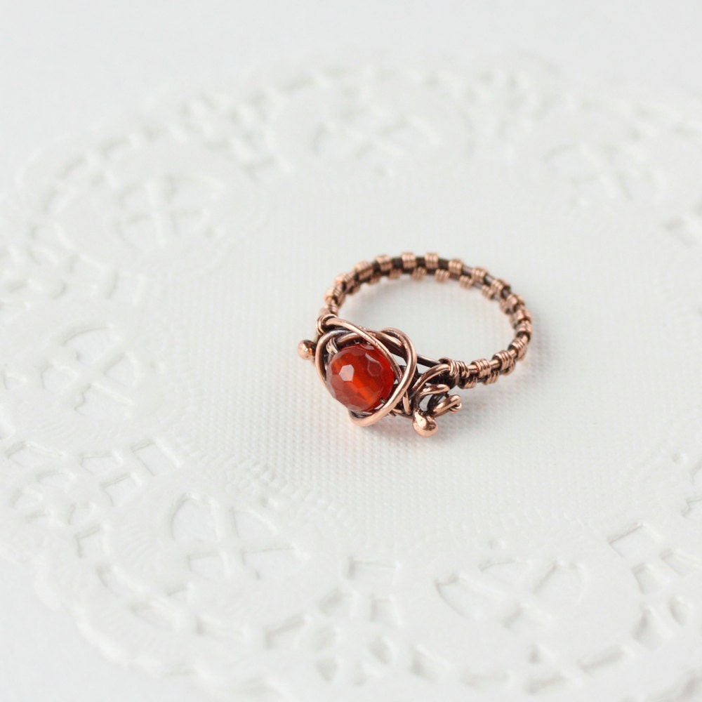 carnelian copper ring wire wrap jewelry orange fall colors