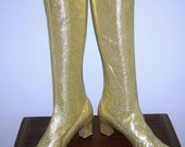 Vintage 60s GOLD go-go Space Age MOD Mad Men Lurex  Glittering METALLIC stretch knee high boots Designed by Riviera's