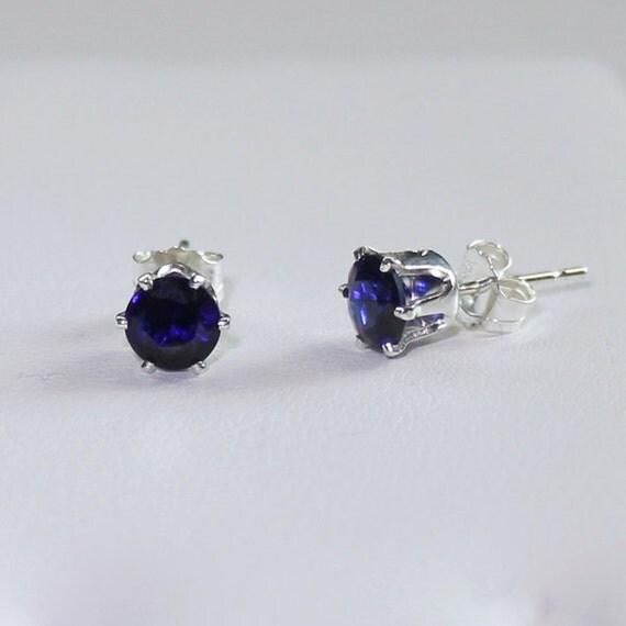 Blue Sapphire Earrings Sterling Silver / Silver Sapphire