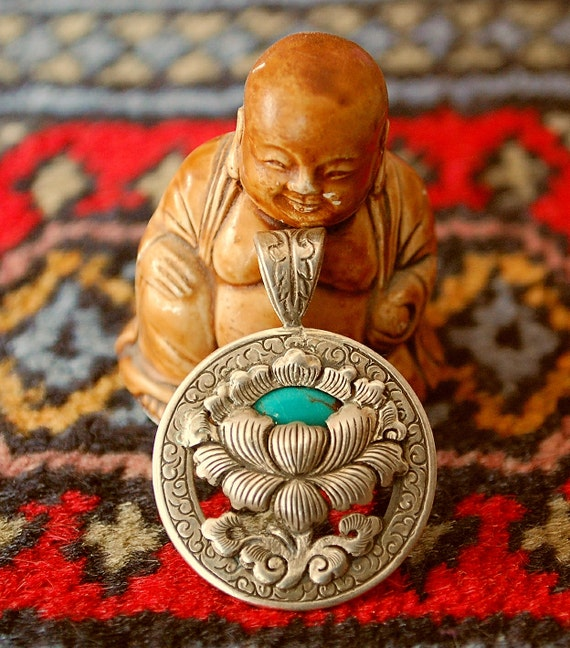Tibetan Lotus Pendant with Turquoise