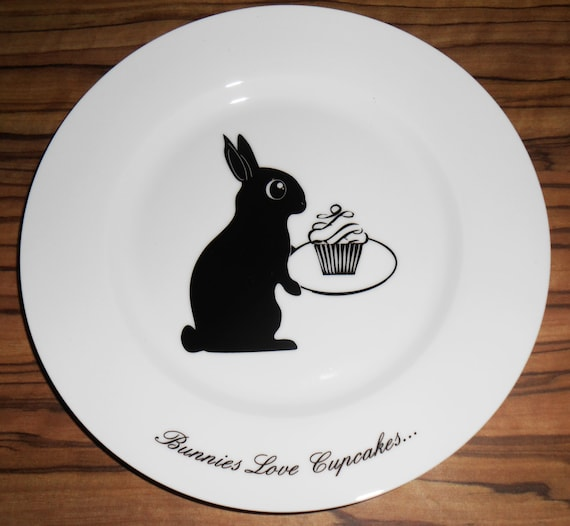 Easter Bunny Cupcake Side Plate, hand printed, Rabbit Plate