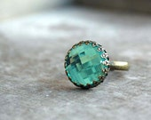 turquoise cabochon ring - Light catcher - Adjustable, Summer jewelry,  resin cabochon, aqua, teal, - picturing