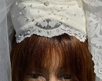 "White Vintage Lace-covered Caplet w Blusher & 48"" Lace-edged Wedding Veil"