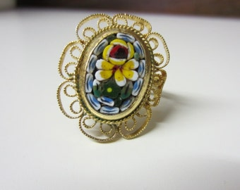 SALE!!  50s Cocktail Ring Beautiful Hand Painted Floral Blue Yellow Mosaic Glass Bead Inlay Filigree Ring