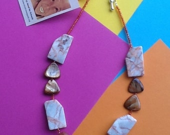 Necklace with marble, aventurine stones and seed beads and mother of pearl