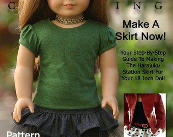 Pixie Faire Liberty Jane Harajuku Station Skirt Doll Clothes Pattern for 18 inch American Girl Dolls - PDF