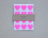 144 Neon Pink Heart Stickers