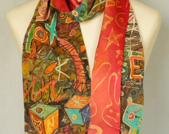 Silk Scarf - Notebook Doodles with red lining