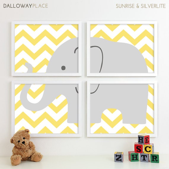 Elephant Twin Nursery Wall Art Nursery Room Decor For Twins: Items Similar To Baby Elephant Nursery Decor, Chevron