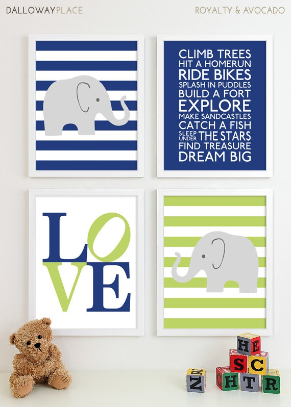 Baby boy nursery art prints chevron elephant by for Boys wall art