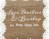 premade Etsy banner set Etsy shop banner shabby chic burlap lace personalized