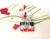 Wire wrap glass bead drop earrings- red, black and white with faux pearl.