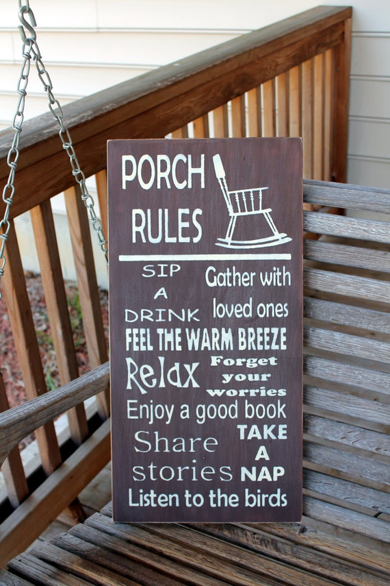 Porch Rules Wood Subway Sign Garden Sign