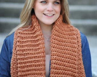 Chunky COLLAR Scarf Cowl Crochet PATTERN Bulky Wrap The ASPEN