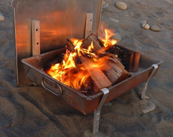 Wilderness FIRE PAN - A Complete Light Weight Fire Pit and grill for Rafting and and Camping  (ships after July 9)
