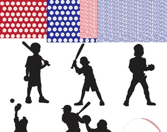 Softball Baseball Clip Art-INSTANT DOWNLOAD- 6 Individual Png Embellishments and 4 Digital Papers - Personal or Commercial Use  - 300 DPI