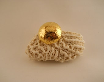 BUTTON: GOLD DOMED button with intricate pattern, 1 1/8 inch