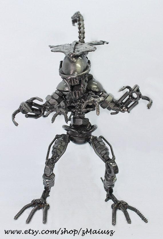 "High detailed handmade scrap metal alien (9"" tall) with 4 hands"