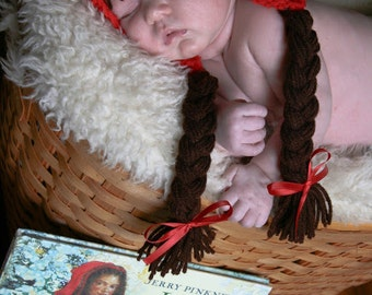 Little Red Riding Hood Pixie Hat with Brown Braids and Bangs Girl Baby Hat  Sizes preemie newborn, 0-3 month,3-6 month , 6-12 month, 1-3yr