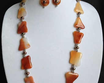 Strikingly Unusual Freeform Carnelian Agate and Pearl Necklace
