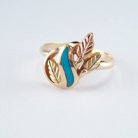 Vintage Gold Jewelry Ring Black Hills Gold Turquoise Inlay Tri