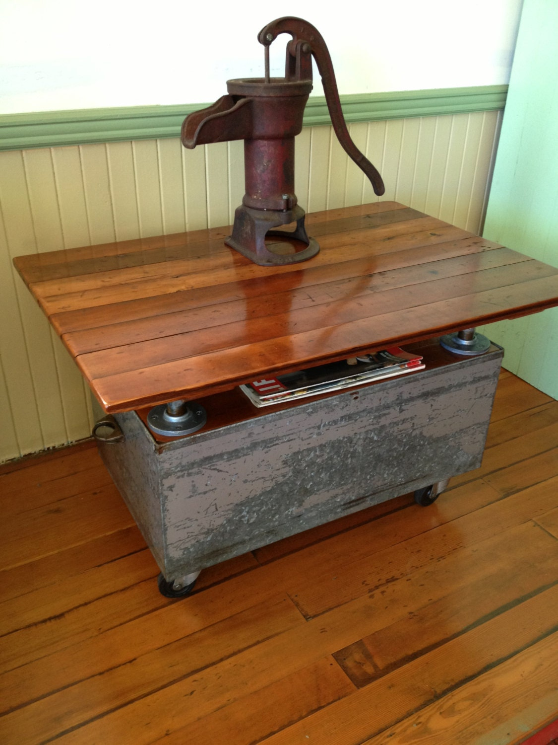 Reclaimed Wood Coffee Table Metal Casters Galvanized Pipe