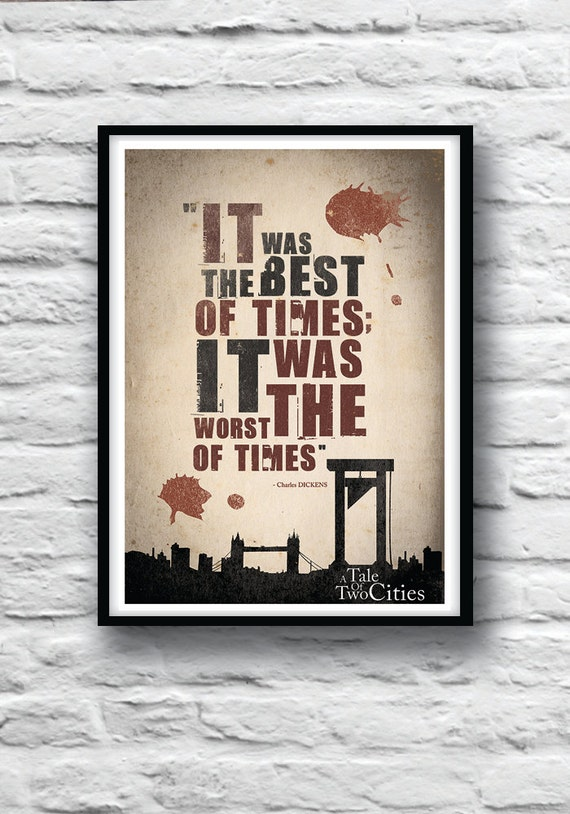 A Tale of Two Cities poster, Quote Poster, Charles Dickens, Housewares, Wall Decor, Literature print, Minimalist
